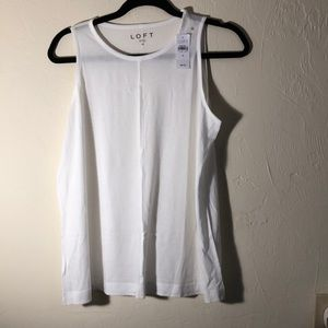 NWT Loft White Tank Top with seam down front.